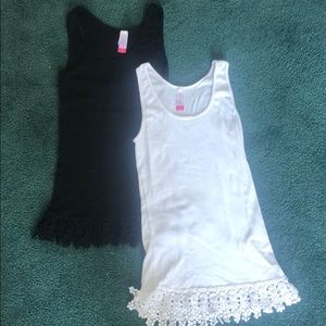2 Ribbed Tank Tops with pretty embroidered edges!